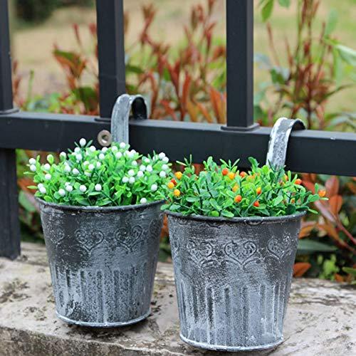 LAMF Macetas colgantes de hierro de metal para colgar en la pared, para balcón, jardín, patio, para decoración del hogar, mini plantas de semillero retro, valla de brigada, cubeta