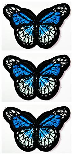 Set 3 Pcs Mini Small Blue Butterfly Animal Cartoon Kid Iron Sew On Patch Stickers for Hat Cap Polo Backpack Clothing Jacket T-Shirt Embroidered Iron On Sew On Patch (35)