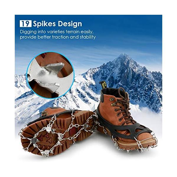 BROTOU Crampones, 19 Dientes Tacos de tracción Nieve y Hielo Tracción para Invierno Deportes Montañismo Escalada Caminar… 1