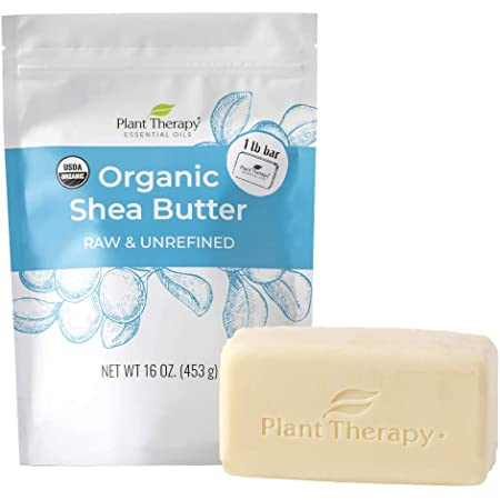 Plant Therapy Organic African Shea Butter Raw, Unrefined USDA Certified16 oz Bar For Body, Face & Hair 100% Pure, Natural Moisturizer For Dry, Cracked Skin, Best for DIY Beauty Products Like Lotion, Cream, Lip Balm & Soap