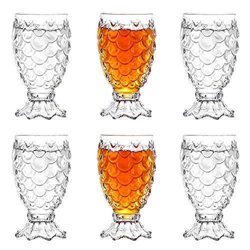 Vaso de Cerveza de Cristal, XiXiRan 6 Unidades 220ML Vasos Largos Irrompibles, Copas de Vino de Sirena, para Bebidas de Té Helado, Zumo, Copas de Vidrio, Bebidas