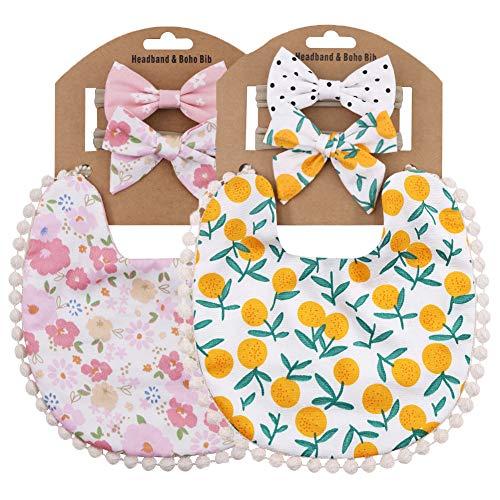 Baby Bibs for Girls Reversible Boho Double-Deck Cotton Drooling Bibs with Nylon Headband Set (SET-04)