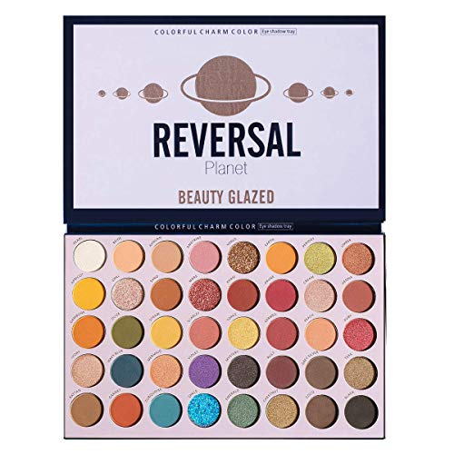 Beauty Glazed 40 Color Reversal Planet Lidschatten-Palette Augen Make-up Wasserdicht Mineral Shiny Powder Shimmer Textmarker Smoky Eye Shadow Make-up-Palette Kosmetische Werkzeuge
