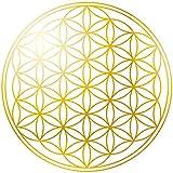 KuschelICH Blume des Lebens 50 Aufkleber - hochtransparente Premium Sticker mit 5 cm Durchmesser Goldprägung