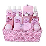Luxurious Premium Deluxe Home Spa Gift Basket for Women, Girlfriend Japanese Cherry Fragrance – Lotions, Creams, Bubble Bath and More! #1 Best Mother's Day Gift for Mom, New Mother