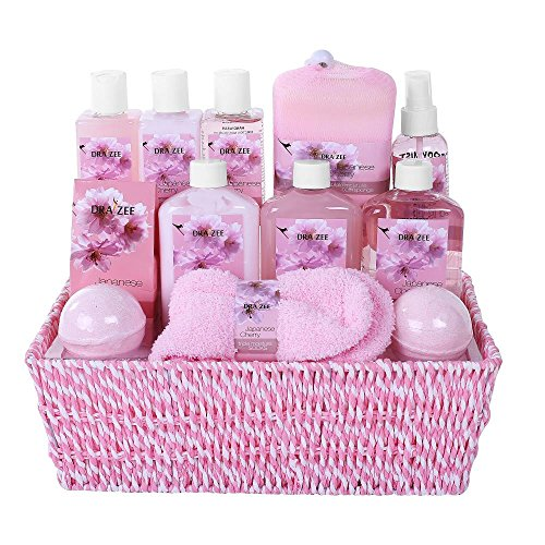 Gift Basket for Mom Premium Deluxe Spa Gift Basket for Women, Japanese Cherry Fragrance – Lotions, Creams, Bubble Bath and More! Best Gift Idea Girl Friend, Wife, Mom