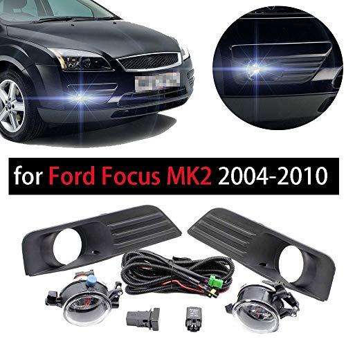 Rejilla luz antiniebla Fit For Ford Focus MK2 2004-2010 2pcs Interruptor Luz Niebla Rejilla + 2 + Lámpara Juego Cables Luces Montaje Automóviles Parachoques Delantero Antiniebla, Faros Niebla Pegatina