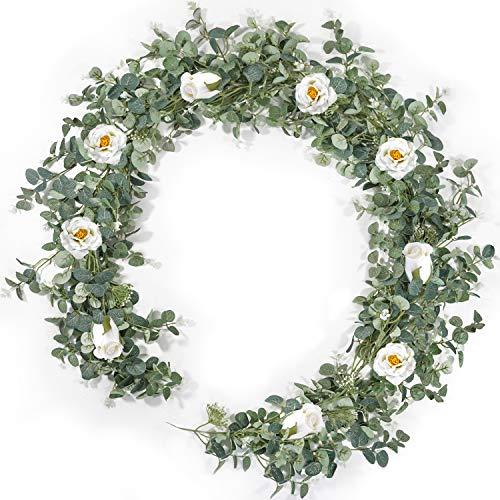 Guirnalda de eucalipto de 2 m con rosas blancas, viñedos artificiales para bodas, camino de mesa, decoración de manteles, decoración de puertas, decoración de interiores y exteriores