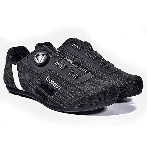 Calzado de Ciclismo,Zapatillas de Deporte para Bicicleta,Hombres Reflectantes Antideslizantes Transpirables Sapatilha Ciclismo,Equipo para Exteriores Sin Bloqueo MTB,Black-41