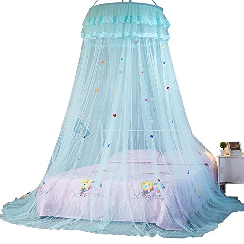 Tent, kinder klamboe tipi tent, koekendeken uitgezet bed baldakijn prinses queen muggennet bed tent enkele deur vloerlengte gordijn blauw