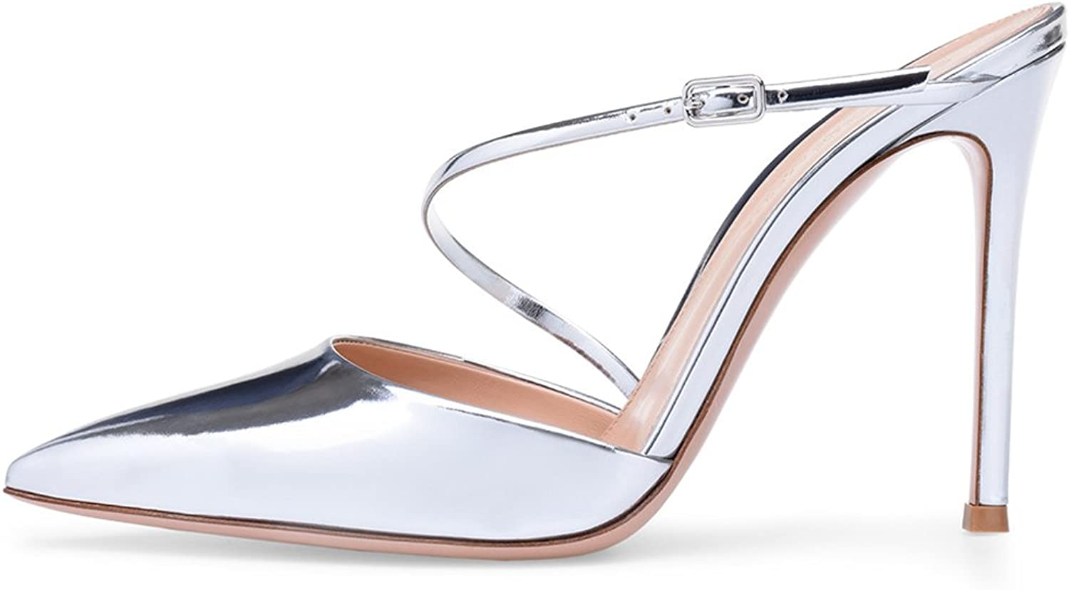Women's Silver Pointed Muller shoes High Heel Sandals Fashion shoes Ankle Strap (Heel Height  11-13cm)