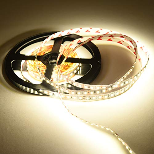 Striscia LED 5m 12v, Striscia led Naturale 4500k, 600 LED Strip Luce nastro luminoso Flessibile 720LM per Illuminazione Domestica Magazzino Negozio Non-Impermeabile IP20 Nessun adattatore