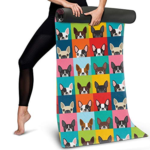 Dremagia Colorful Yoga Mats French Bulldog Puppy Print Sweat-Absorb Exercise Floor Mat Portable Outdoor Sport Pad