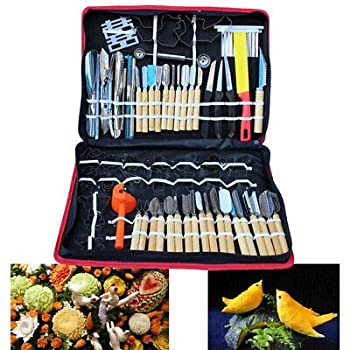 80pcs Kitchen Carving Tools Kit,Portable Vegetable Fruit Food Peeling Carving Tools Kit Culinary Carving Tool Set Fruit Veg Garnishing Making for Chef DIY with Carry Box