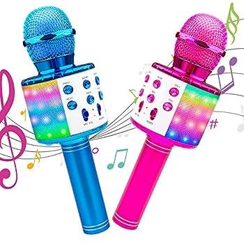 Karaoke Microphone 2Pack Icnice Mic Speaker with Flashing Light Handheld Wireless Car Karaoke Mic for Singing Bluetooth Mic Compatible TV/iPhone/Android/PC Karaoke Machine for Kids Adults-Pink Blue