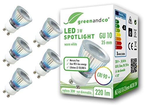 5x greenandco® CRI 90+ LED Spot ersetzt 30W GU10 35mm Strahler, 3W 220lm 3000K warmweiß 50° 230V flimmerfrei nicht dimmbar 2 Jahre Garantie