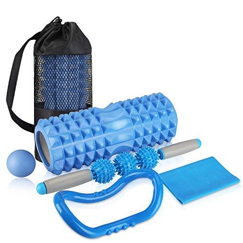 AGPTEK Faszienrolle Faszien Set 5 IN 1 mit Foam Roller Massageroller Schaumstoffrolle Massagebälle Yoga Ring Widerstandsbänderfür, Faszientraining von Muskeln und Entlastung Muskelkate