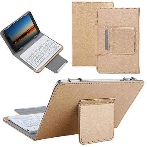 hangong Concise Wireless Keyboard Case For 7 8 Inch Tablet Universal Detachable Keyboard For Ipad Mini 5 4 3 2 1 7.9 Stand Cover (Color : Gold, Size : For 7 inch-8 inch tablet)