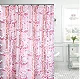 HOMECROWN Bamboo Leaf Design Waterproof Shower Curtain for Bathroom, 7 Feet PVC Curtain with 8 Hooks...