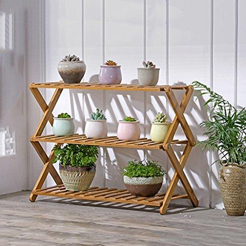 Cqq fleur étagère Rayons de fleurs en bambou pliage Sol intérieur bois massif balcon à plusieurs étages étagère à fleurs Étagère salon étagère à étages à plusieurs étages ( taille : 38*50cm )