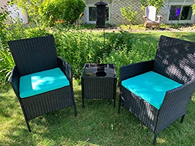 Viewee Outdoor Patio Furniture Sets 3 Pieces Porch Furniture PE Rattan Patio Set Outdoor Table and Chairs with 2 Pieces Blue Patio Furniture Cushions (Black)