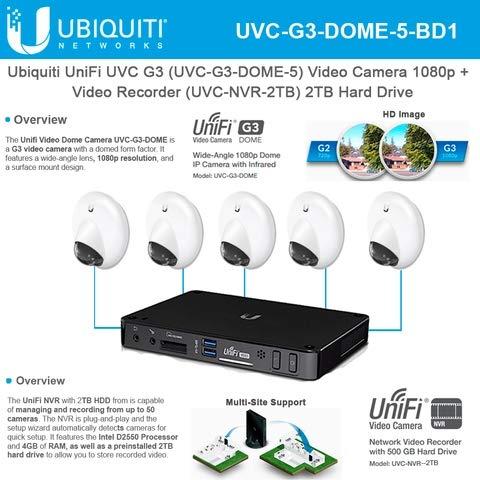 Ubiquiti UniFi Protect G3 Dome Camera UVC-G3-DOME-5 Video Camera 1080p Infrared with UniFi Video Recorder UVC-NVR-2TB 2TB Hard Drive