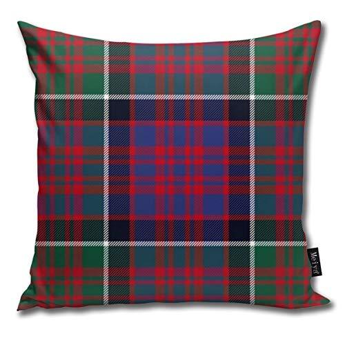 Ameok-Design Macdonald of Clan Ranald - Funda de cojín Cuadrada de Terciopelo de tartán Rojo Suave y Suave de Microfibra, para sofá, Dormitorio, Coche, con Cremallera Invisible, 45,7 x 45,7 cm