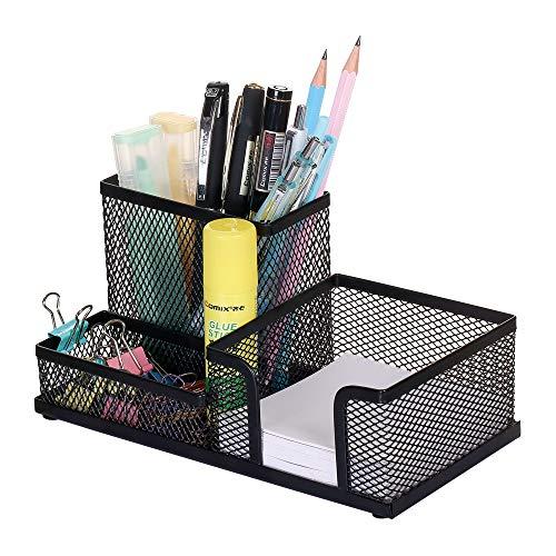 Comix Mesh Pencil Holder Office Desktop Organizer with 3 CompartmentsBlack Pencil Holder Multifunctional Holder Wired Mesh Design-Black