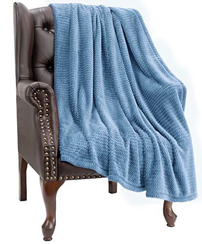 "HBlife Microfiber Luxury Flannel Fleece Blanket Queen Size, Super Soft & Cozy Waffle Weave Pattern Plush Blanket, 90"" x 90"" Navy"