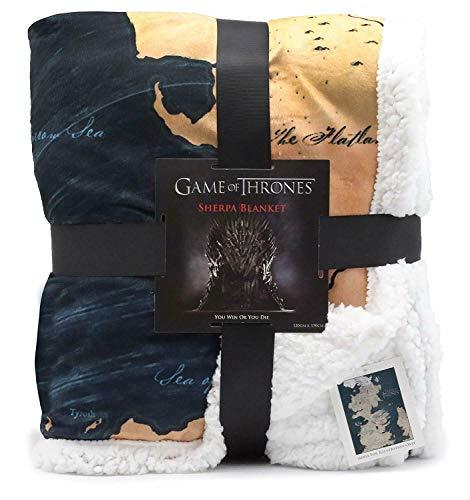 Game Of Thrones Geschenke Karte Von Westeros Sherpa Decke | Got Merchandise Superweiche Sofa Decken Wende-decke Mit Weißem, Flauschigem Fleece Und Großem Westeros-kartendesign