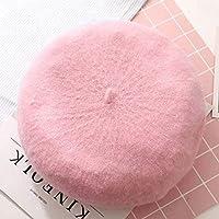 YYONGAO 秋と冬バージョンの女性は、ソリッドカラーの芽帽子暖かいニット帽子女性の野生のウサギの毛の画家帽子S90のベレー (Color : Pink, Hat Size : One Size)