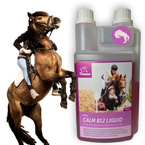 EMMA Magnesio Vitamina B12 para Caballos I Calma para Caballos I alimento líquido suplementario para los Nervios, en Caso de estrés I para la Calma I con L-triptófano I calmante 1 litro