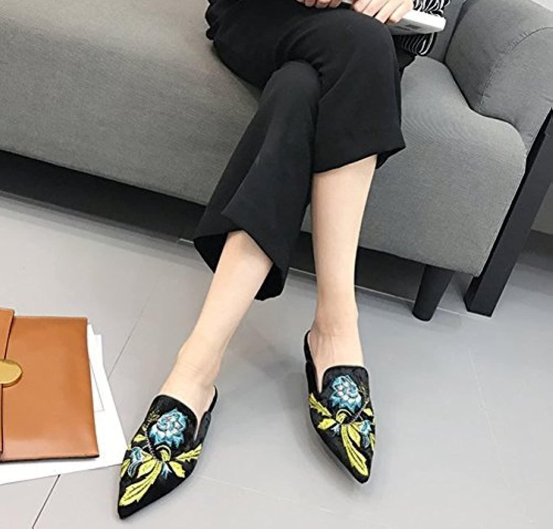 Fuxitoggo Infradito da Donna Pantofole Ricamo Petalo Punta Baotou Piatta Mezza Resistenza (Coloreee   Blu, Dimensione   6 US 36 EU 3.5 UK)
