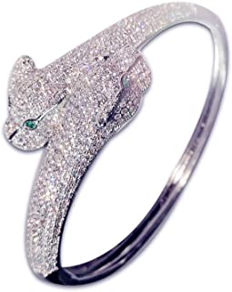 Fashion Jewelry MISASHA Women's Crystal Enamel Leopard Statement Hinged Bangle Bracelet Clear