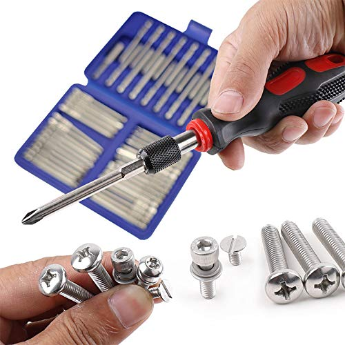Rocaris 50 Pack Screwdriver Bit Set, 3 in Security Bit Set Extra Long Magnetic Driver Kit with Case, Hex, Star Bits, Philips, Square, Spanner Bits - S2