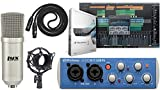 Presonus AudioBox 96 Audio USB 2.0 Recording Interface and Studio One Artist Software kit with Condenser Microphone Shockmount, and XLR Cable (Interface Color May Vary in Blue or Black)
