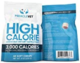 Miracle Vet Weight Gaining Chews for Dogs & Cats. 3,000 Calories per Bag. High Calorie Dog Treats for Weight gain & Health.