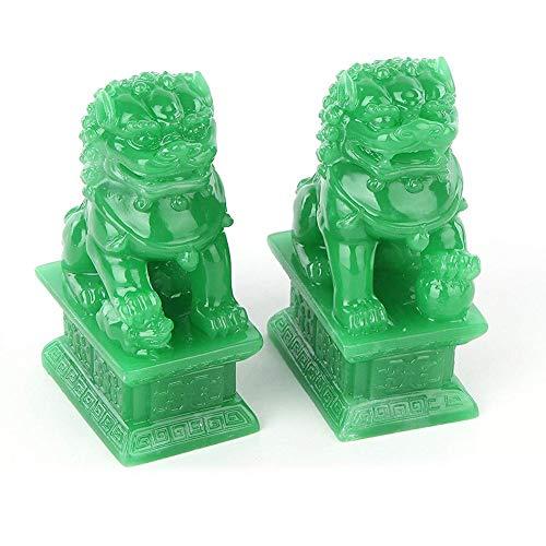presentimer EIN Paar Fu FOO Dogs-traditionelle chinesische Wächter-Löwe-Statuen mit Steinende-Feng Shui-Dekor für Innenplatzierung im Freien