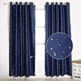 """1 Pair Stars Curtains for Window Top Rings Blackout Curtains for Kids Bedroom Living Room Navy Panel 66"""" x 72"""" (167cm x 182cm,)(Shading Rate: 70%-90% )"""