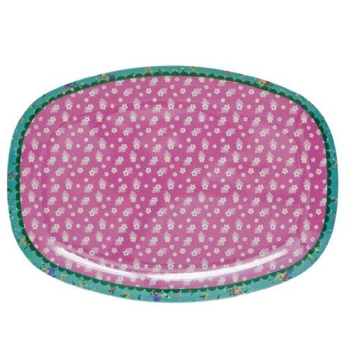 Plateau rectangulaire en mélamine avec imprimé pink flower
