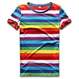 Rainbow T Shirt Women Striped Crew, Rainbow Stripes, Size Chinese Size Medium
