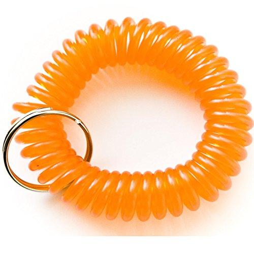 50PCS Orange Color Soft Spring Spiral Coil Elastic Wrist Band Key Ring Chain