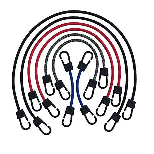 Cordons Tendeurs Élastiques à Toute Épreuve avec Crochets Fabriqué Fièrement par Super Smithee Cordes Bungee de Fixation pour Bagage avec Attaches Clips Durables en Métal