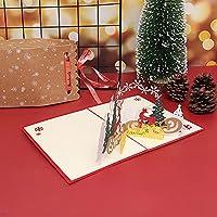 新しい 3Dポップアップグリーティングカードポストカードカードパーティーの装飾サンタクロースクリスマス鹿ホリデーグリーティングカードカード