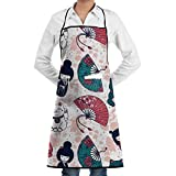 Drempad Delantal de Cocina, Novelty Kokeshi Dolls Kitchen Chef Apron with Big...