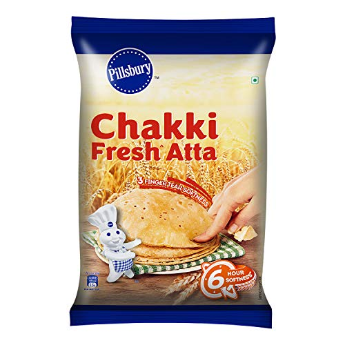 Pillsbury Chakki Fresh Atta| Made from Finest Quality of Wheat Grains | 100% Atta| 0% Maida | Upto 6 Hours of Softness, 5Kg