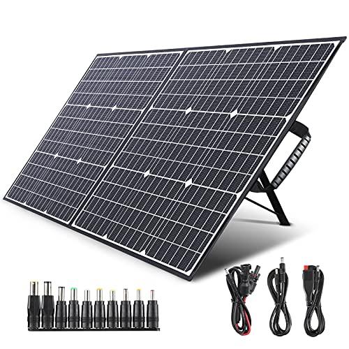 SWAREY Panel solar monocristalino 100W 18V, DC/USB/QC3.0/Type-C PD 60W/MC4, ETFE material, Soporte integrado ajustable, Placa solar para los mayores generadores, Ideal para camping, Senderismo