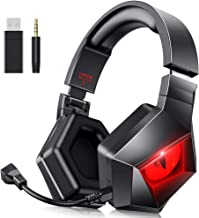 BENGOO MH-1 2.4G Wireless Gaming Headset Headphones for PS4 PS5 PC with Detachable Noise Canceling Mic, Red LED Light, Sof...