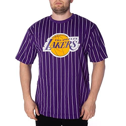 New Era Shirt - Basketball Shirts - Football Tshirt - Fanshirt - Trikot - Pinstripe Oversized Tee - NBA - NFL - Bulls - Lakers - Raiders (Los Angeles Lakers Lila, L)