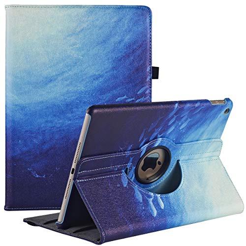 Funda para iPad 8.a generación 2020 / iPad 7.a generación 2019, Funda Protectora Ajustable de 360 Grados con visualización en múltiples ángulos y suspensión / activación automática (Blue Ocean)